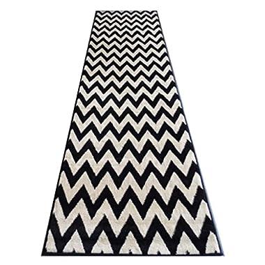 Chevron Area Rug Runner Design #440 Black And Off White / Beige (32 Inch X 15 Feet 10 Inch)