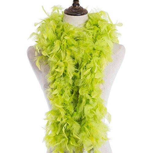 MeiHoyo 6ft 40g Colorful Feather Boas, Assorted Girls Feather Boa, Dress up Boa, Mardi Gras Boa, Feather Boas for Adult (Green-2PCS) ()
