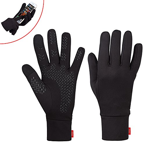 Aegend Medium Sports Running Gloves Touch Screen Gloves Lightweight Liner Gloves For Running, Cycling, Walking, Riding, Working Outdoor Men Women In Early Spring Or Fall, Black, 3 Size