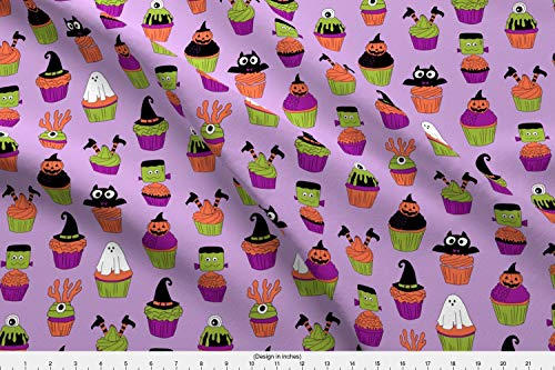 Halloween Cupcakes Fabric - Spooky Scary Food Cupcake Witch Frankenstein Ghost by Andrea Lauren Printed on Modern Jersey Fabric by The -