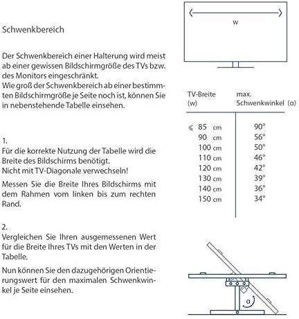 TradeMount Soporte de Pared para TV/Monitor de un Brazo Extensible de 7,3 cm a 44 cm orientable inclinable 12° para Panasonic 50