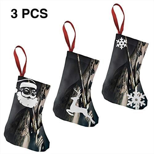 クリスマスの日の靴下 (ソックス3個)クリスマスデコレーションソックス モデルRick Genest クリスマス、ハロウィン 家庭用、ショッピングモール用、お祝いの雰囲気を加える 人気を高める、販売、プロモーション、年次式