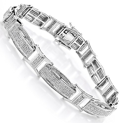 Luxurman Diamond Bracelets 14K Men Natural 2.4 Ctw Micro-Pave Set Diamonds Bracelet (White Gold)