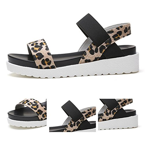 Sandalias para Mujer, FAMILIZO Sandalias de mujer de moda Sandalias de cuero de verano de mujer zapatos de damas Marrón