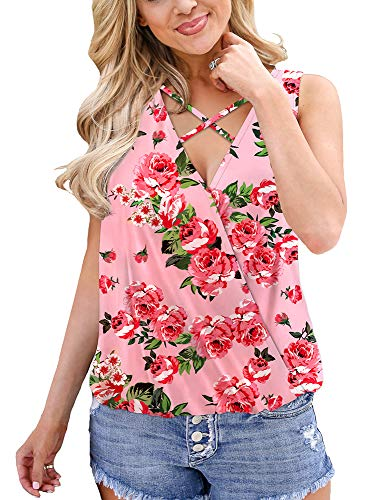 - Summer Women Floral Tank Tops Deep V Neck Pleated Wrap Shirts for Women Pink 2XL