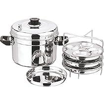 Vinod Cookware 202 1pcs Small Multi pot with 3pcs idli plates, 3pcs dhokla plates, Silver