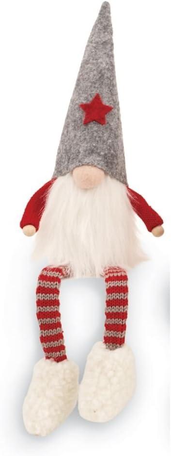 Mud Pie Christmas Home Decor Felt Dangle Leg Gnome Sitter (Gray)