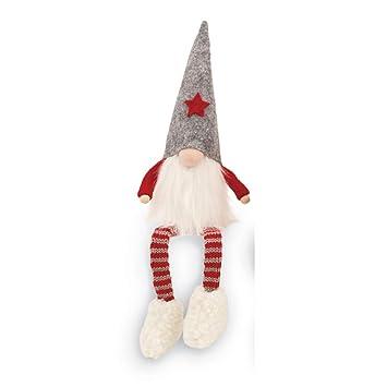 mud pie christmas home decor felt dangle leg gnome sitter gray