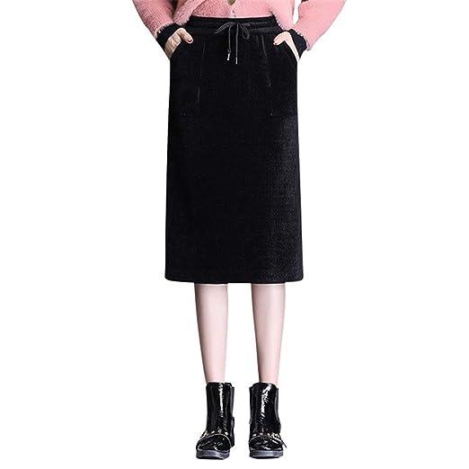 Falda elástica de Mujer Señoras de Las Mujeres elástico Ajustado ...