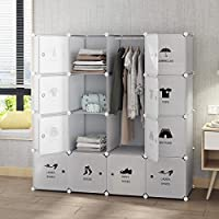 Tespo Portable Wardrobe Closet for Bedroom, Combination Armoire, Modular Cabinet, Ideal Space Saving Storage Organizer Cubes, Sturdy Construction, White (White, 16 cubes)