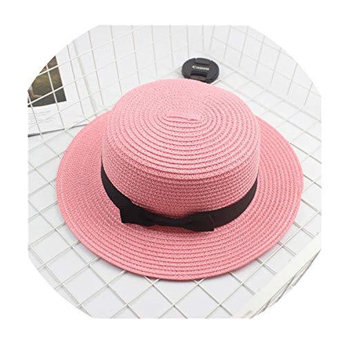(Fashion Parent-Child Sun Hat Cute Children Sun Hats Bow Hand Made Women Straw Cap Beach Big Brim Hat Casual Girls Summer Cap,8,Adult)