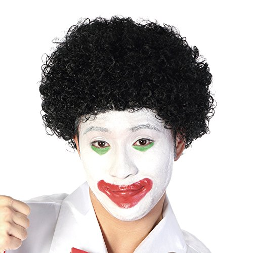 Funny Curly Afro Wig World Cup Football Fan Cosplay Wig Humor Clown Wig 6 Color (Black)