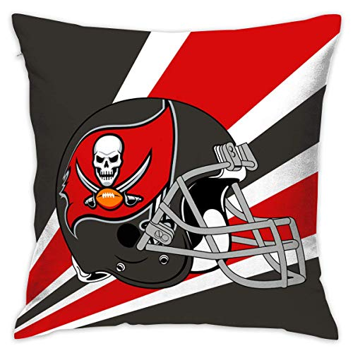 luckyly Custom Pillowcase Colorful Tampa Bay Buccaneers American Football Team Bedding Pillow Covers Pillow Cases for Sofa Bedroom Bedding Car Home Decorative - 18x18 Inches