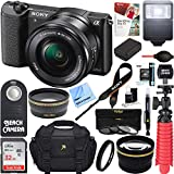 Sony Alpha a5100 HD 1080p Mirrorless Digital Camera Black + 16-50mm Lens Kit + 32GB Accessory Bundle + DSLR Photo Bag + Extra Battery + Wide Angle Lens + 2x Telephoto Lens + Flash + Remote + Tripod For Sale