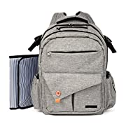 Stylish Baby Diaper Backpack for Mom & Dad | Bonus Changing Pad & Adjustable Shoulder Straps | Waterproof & Comfortable Diaper Bag with Insulated Bottle Pockets for Snacks, Toys & Clothes | Gray