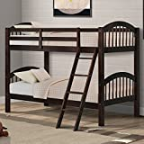 Harper&Bright Designs Twin-Over-Twin Bunk Beds Solid Hardwood Twin Bunk Bed for Kids with Ladder and Safety Rail (Dark Espresso)