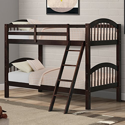 Harper&Bright Designs Twin-Over-Twin Solid Wood Bunk Bed (Espresso)