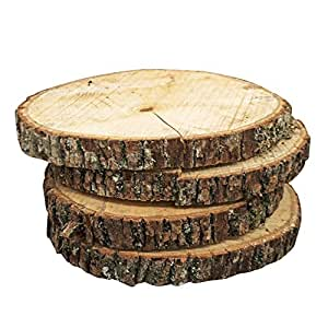 Natural Wood Slices, Round Basswood Slabs, 9 To 11 Inches, Rustic Tree Bark