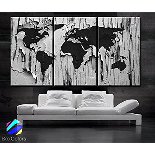 Grey world map wall decor on canvas amazon large 30x 60 3 panels 30x20 ea art canvas print world map texture old wood color gray black white home office interior included framed 15 depth gumiabroncs Image collections