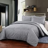 Simple&Opulence Polyester 3 Piece Jane European Style Bedding Light Grey Duvet Cover Set (Twin)