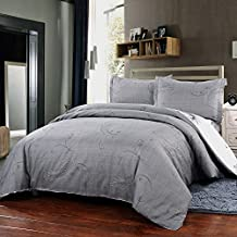 Simple&Opulence Polyester 3 Piece Jane European Style Bedding Light Grey Duvet Cover Set (King)