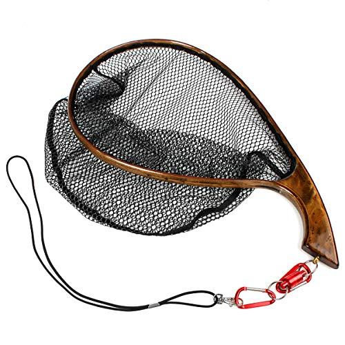 Yoomoo Fly Fishing Landing Trout Net Catch Release Net - Handmade Wooden Frame Soft Rubber Mesh Wood Grain Holder (Gray - L - Size)