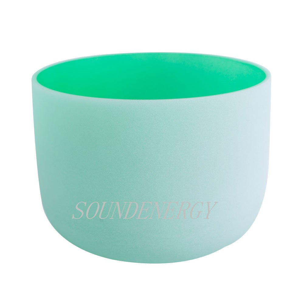 Perfect Pitch 432Hz Frosted F Note Heart Chakra Green Colored Frosted Quartz Crystal Singing Bowl 12 inch mallet and o-ring included