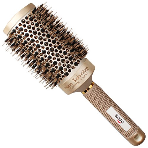 Baasha Large Round Brush with Boar Bristles 3.3 inch, Blow Dryer Hair Brush for Curly Hair, Hair Straightening Brush Nano Technology Ceramic Ionic for Perfect Volume Shine and Anti Frizz, Gold Brown