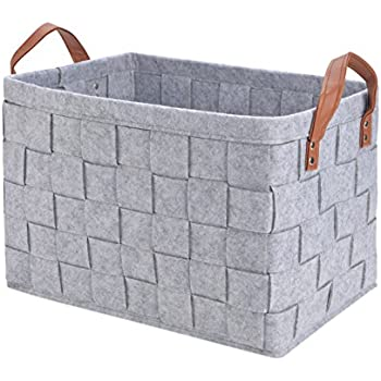 Perber Storage Baskets,Handmade Decorative Collapsible Rectangular Felt Fabric  Storage Bin,Large Enough For Clothes Storage Box,Kids Toys,Pet Toys,Baby ...