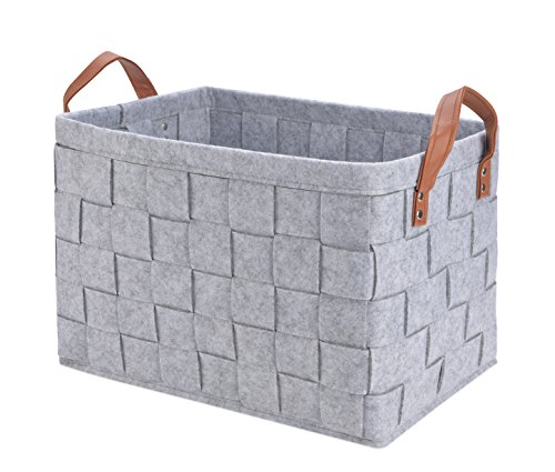 Collapsible Storage Basket Bins, Foldable Handmade Rectangular Felt Fabric Storage Box Cubes Containers with Handles- Large Organizer For Nursery Toys,Kids Room,Towels,Clothes, Grey -