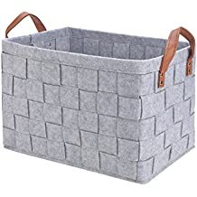 Perber Storage Baskets,Handmade Decorative Collapsible Rectangular Felt Fabric Storage Bin,Large Enough for Clothes Storage Box,Kids Toys,Pet Toys,Baby Clothing, Bedroom,Office,Closet Organizer-Grey