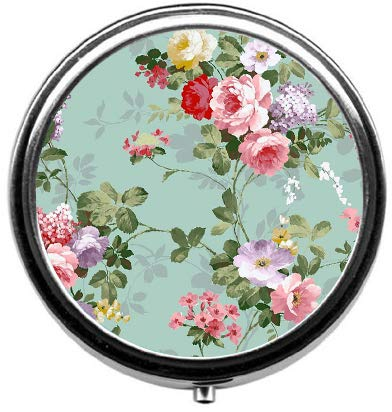 BeeGogo - Vintage Floral Custom Round Silver Pill Box Pocket 2.1 inches Medicine Tablet Holder Organizer Case for ()