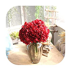 Memoirs- Artificial Fake Silk Flower Hydrangea Leaf 5 Heads Real Touch Artificial Flowers Silk Bouquets for Home Party Wedding Decoration 35
