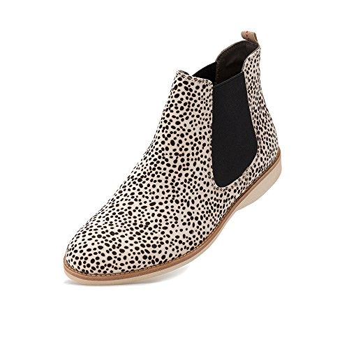 a2cf339e0577 Rollie Women's Chelsea Snow Leopard, White Leopard Print Haircalf Boots  White Flat Boots for Women