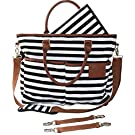 Diaper Bag for Stylish Moms, Black/White, Premium Cotton Canvas Tote Bag, 13 pockets Including Insulated Bottle Holders, by MommyDaddy&Me