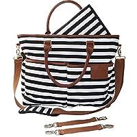Diaper Bag for Stylish Moms, Black/White, Premium Cotton Canvas Tote Bag, 13 ...