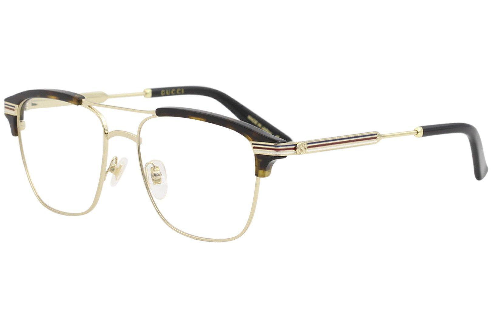 Gucci GG 0241O 003 Gold Havana Plastic Rectangle Eyeglasses 54mm