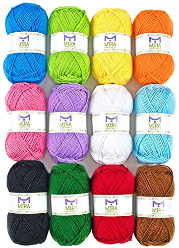Mira Handcrafts Acrylic 1.76 Ounce(50g) Each Large Yarn Skeins - 12 Multicolor Knitting and Crochet Yarn Bulk - Starter Kit for Colorful Craft - 7 Ebooks with Yarn Patterns ()