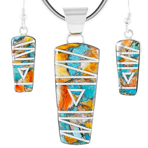 (925 Sterling Silver Matching Pendant & Earrings Set with Genuine Spiny Turquoise 20