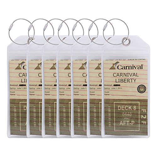 ColorYourLife Thick Clear PVC Cruise ID Tags Badge Holders Pouches Cruise Ship Tags with Zip Top Seal and Steel Loop Metal Ties (7-Pack - Tie Pvc