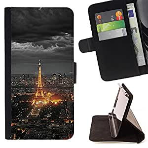 For sony Xperia M4 Aqua Eifel Tower Paris City Tourist Night Clouds Style PU Leather Case Wallet Flip Stand Flap Closure Cover