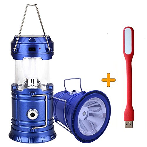 ZLXING Solar Lantern Portable Collapsible Rechargeable for Outdoor Camping Hiking Emergency,3 Colors (Blue)