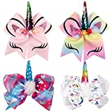Girls Cheer Bows Unicorn Hair Bows With Elastic Band & Alligator Clips for Cheerleading Girls Teens Kids Baby Toddlers (4 Pack - Unicorn cheer hair bows)