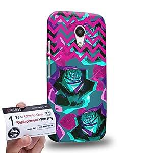 Case88 [Motorola Moto G (2nd Gen)] 3D impresa Carcasa/Funda dura para & Tarjeta de garantía - Art Drawing Fashion Floral Chevron C