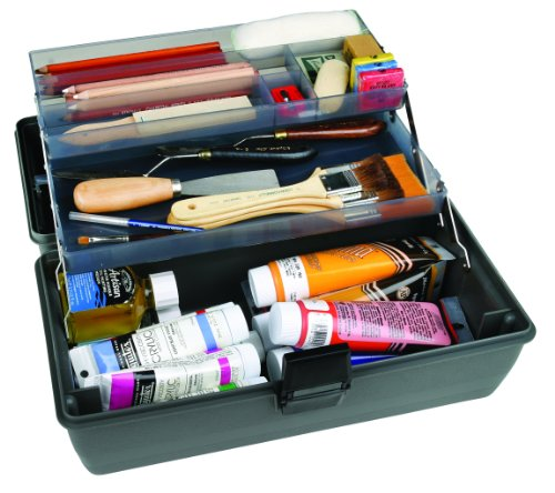 ArtBin Upscale 2-Tray Tool Box with Metal Links- Slate Gray Art Supply Container, 8399 by ArtBin