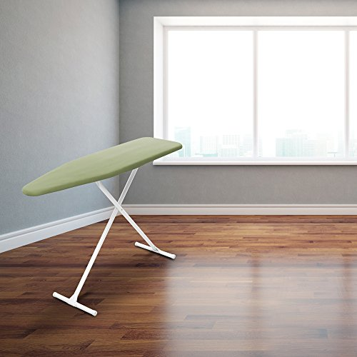 HOMZ T-Leg Adjustable Height Foam Pad Ironing Board with Cotton Cover, Green Cover by HOMZ (Image #1)