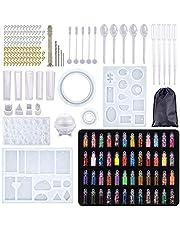 XWU Kits de moldes de silicone para resina epóxi, para artesanato, inclui broca manual, lantejoulas e ferramentas