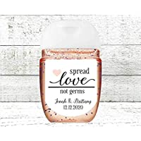 Wedding Favor Labels - 30 Personalized Mini Stickers, Spread Love Not Germs