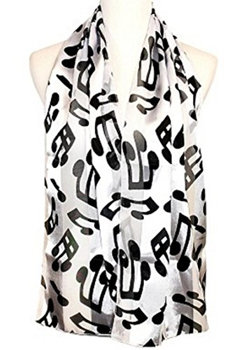 Knitting Factory Women's Fashion Music Note Scarf with Gift Box (Various Patterns, Colors) Made in Korea (White-ON2033)