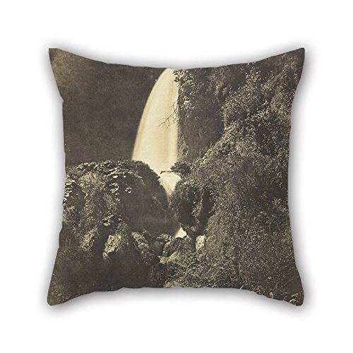 Slimmingpiggy 16 X 16 Inches / 40 By 40 Cm Oil Painting Giacomo Caneva - Tivoli, Aniene Waterfall Throw Pillow Case 2 Sides Is Fit For Deck Chair Dinning Room Monther Sofa Car Couch